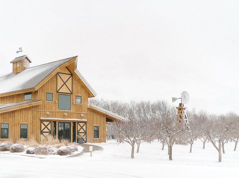 Winter exterior Harrisburg, South Dakota Meadow Barn at Country Orchards wedding