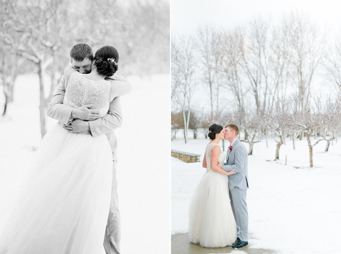 First look winter wedding photography Harrisburg Meadow Barn at Country Orchards