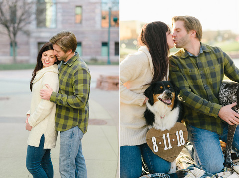 Downtown Fawick Park Sioux Falls engagement dog wearing date heart around neck