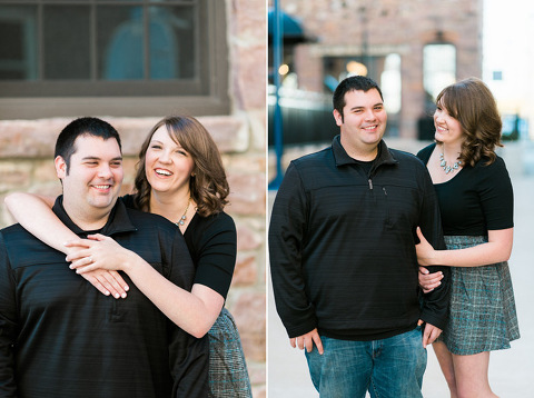 Natural and candid Sioux Falls downtown engagement couple laughing outside brick building