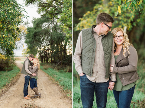 Beautiful classic fall engagement photography at sunset with lake