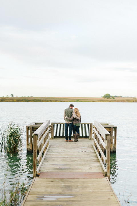 Beautiful scenic engagement photography on South Dakota lake natural