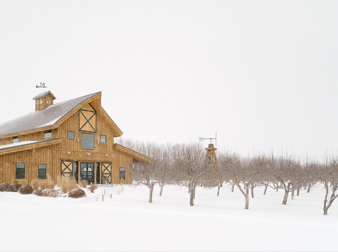 Winter exterior shot Harrisburg, SD The Meadow Barn at Country Orchards