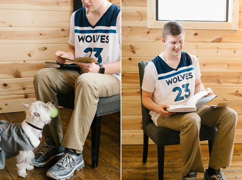 Groom MN basketball jersey reading gift from bride dog ring bearer begging