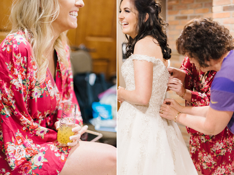 Grand Prairie Events bride getting dressed with personalized mimosa glasses