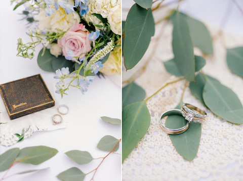 Wedding details family heirlooms wedding rings with dusty blues and soft pinks