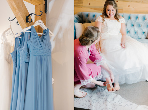 Dusty blue bridesmaids dresses on white personalized hangers Meadow Barn Sioux Falls wedding photography