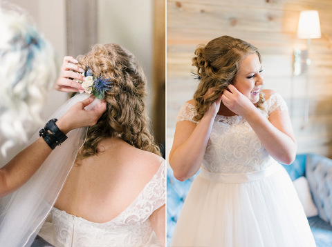 Getting ready Meadow Barn Harrisburg South Dakota bride with real flowers in hair