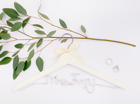 Customized hanger for bride Emily Swan Sioux Falls wedding photography