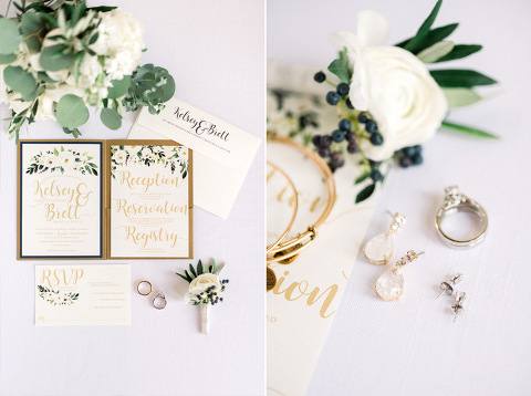 Lay flat wedding details wedding stationery Sioux Falls photographer Bella Rosa flowers bright and airy style