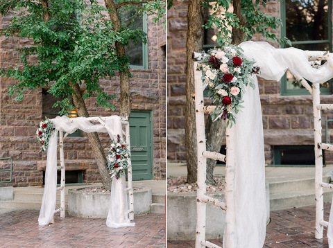 Birch wood white wedding arch Flower Mill roses floral outdoor Old Courthouse Museum photography