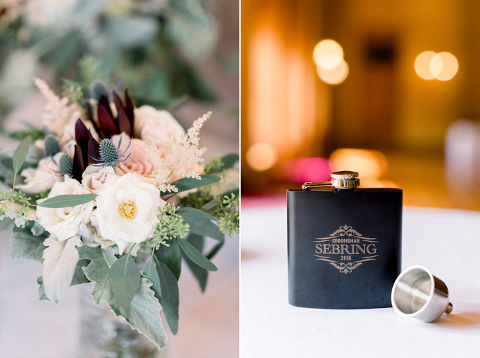 Sioux Falls Courthouse wedding details personalized flask groomsmen gift bridesmaid bouquet